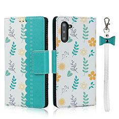 Coque Portefeuille Livre Cuir Etui Clapet T10 pour Samsung Galaxy Note 10 5G Cyan