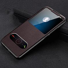 Coque Portefeuille Livre Cuir Etui Clapet T14 pour Huawei Honor View 20 Marron