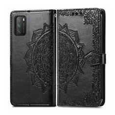 Coque Portefeuille Livre Cuir Etui Clapet T14 pour Xiaomi Poco M3 Noir
