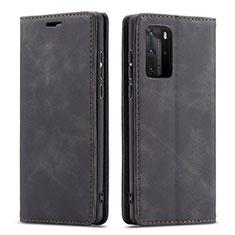Coque Portefeuille Livre Cuir Etui Clapet T15 pour Huawei P40 Pro Noir
