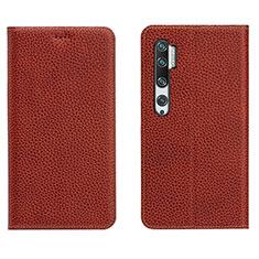 Coque Portefeuille Livre Cuir Etui Clapet T16 pour Xiaomi Mi Note 10 Marron