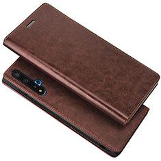 Coque Portefeuille Livre Cuir Etui Clapet T18 pour Huawei Honor 20 Marron