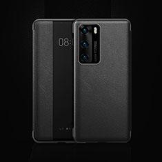 Coque Portefeuille Livre Cuir Etui Clapet T22 pour Huawei P40 Noir