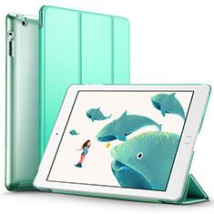 Coque Portefeuille Livre Cuir L01 pour Apple iPad 4 Vert