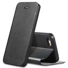 Coque Portefeuille Livre Cuir L01 pour Apple iPhone 5S Noir