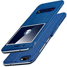 Coque Portefeuille Livre Cuir L01 pour Huawei Enjoy 7 Bleu