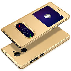 Coque Portefeuille Livre Cuir L01 pour Huawei Enjoy 7 Plus Or