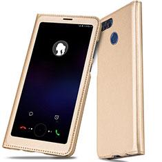 Coque Portefeuille Livre Cuir L01 pour Huawei Enjoy 7S Or