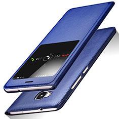 Coque Portefeuille Livre Cuir L01 pour Huawei G7 Plus Bleu