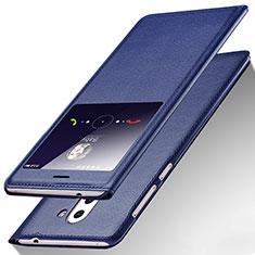 Coque Portefeuille Livre Cuir L01 pour Huawei GR5 (2017) Bleu