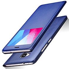 Coque Portefeuille Livre Cuir L01 pour Huawei GR5 Bleu