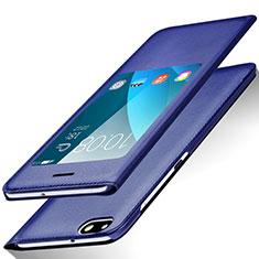 Coque Portefeuille Livre Cuir L01 pour Huawei Honor 4X Bleu