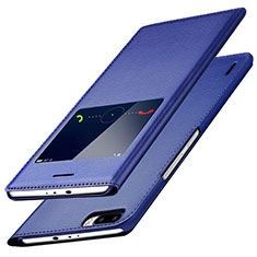 Coque Portefeuille Livre Cuir L01 pour Huawei Honor 6 Plus Bleu