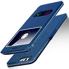 Coque Portefeuille Livre Cuir L01 pour Huawei Honor 8 Bleu