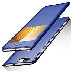 Coque Portefeuille Livre Cuir L01 pour Huawei Honor V8 Bleu