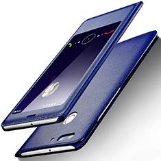 Coque Portefeuille Livre Cuir L01 pour Huawei Honor V9 Bleu