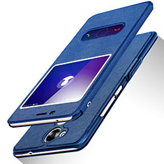 Coque Portefeuille Livre Cuir L01 pour Huawei Honor V9 Play Bleu