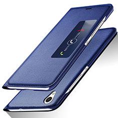Coque Portefeuille Livre Cuir L01 pour Huawei P7 Dual SIM Bleu