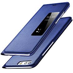 Coque Portefeuille Livre Cuir L01 pour Huawei P9 Bleu