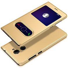 Coque Portefeuille Livre Cuir L01 pour Huawei Y7 Prime Or