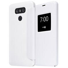 Coque Portefeuille Livre Cuir L01 pour LG G6 Blanc