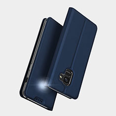 Coque Portefeuille Livre Cuir L01 pour Samsung Galaxy A5 (2018) A530F Bleu