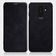 Coque Portefeuille Livre Cuir L01 pour Samsung Galaxy A6 Plus (2018) Noir