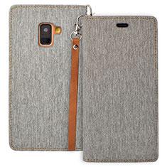 Coque Portefeuille Livre Cuir L01 pour Samsung Galaxy A8 (2018) A530F Gris