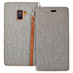 Coque Portefeuille Livre Cuir L01 pour Samsung Galaxy A8 (2018) Duos A530F Gris