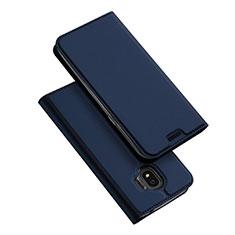 Coque Portefeuille Livre Cuir L01 pour Samsung Galaxy J2 Pro (2018) J250F Bleu