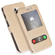 Coque Portefeuille Livre Cuir L01 pour Samsung Galaxy J7 Prime Or