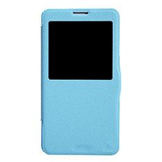 Coque Portefeuille Livre Cuir L01 pour Samsung Galaxy Note 3 N9000 Bleu