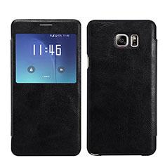 Coque Portefeuille Livre Cuir L01 pour Samsung Galaxy Note 5 N9200 N920 N920F Noir