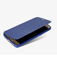 Coque Portefeuille Livre Cuir L01 pour Samsung Galaxy S7 G930F G930FD Bleu