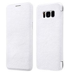 Coque Portefeuille Livre Cuir L01 pour Samsung Galaxy S8 Plus Blanc
