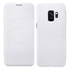 Coque Portefeuille Livre Cuir L01 pour Samsung Galaxy S9 Blanc