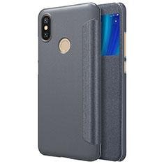 Coque Portefeuille Livre Cuir L01 pour Xiaomi Mi 6X Noir