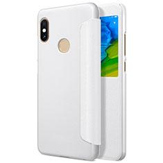 Coque Portefeuille Livre Cuir L01 pour Xiaomi Redmi Note 5 AI Dual Camera Blanc