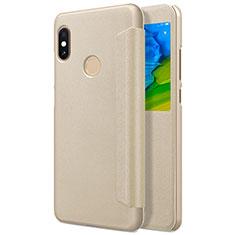Coque Portefeuille Livre Cuir L01 pour Xiaomi Redmi Note 5 AI Dual Camera Or