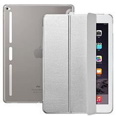 Coque Portefeuille Livre Cuir L02 pour Apple iPad Pro 12.9 Argent