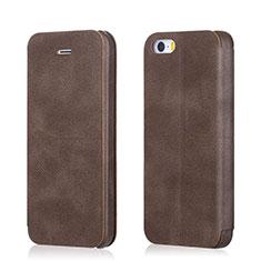 Coque Portefeuille Livre Cuir L02 pour Apple iPhone 5S Marron