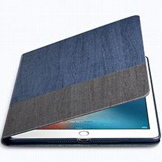 Coque Portefeuille Livre Cuir L02 pour Apple New iPad 9.7 (2017) Bleu