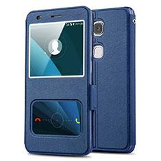 Coque Portefeuille Livre Cuir L02 pour Huawei GR5 Bleu