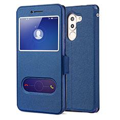 Coque Portefeuille Livre Cuir L02 pour Huawei Honor 6X Pro Bleu