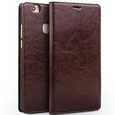 Coque Portefeuille Livre Cuir L02 pour Huawei Honor Note 8 Marron
