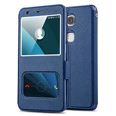 Coque Portefeuille Livre Cuir L02 pour Huawei Honor X5 Bleu