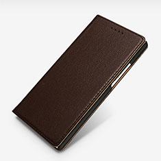 Coque Portefeuille Livre Cuir L02 pour Huawei P7 Dual SIM Marron