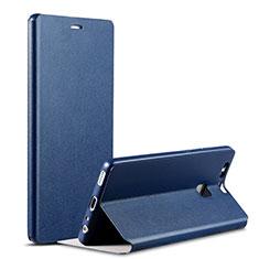 Coque Portefeuille Livre Cuir L02 pour Huawei P9 Bleu