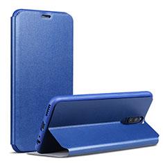 Coque Portefeuille Livre Cuir L02 pour Huawei Rhone Bleu