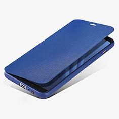 Coque Portefeuille Livre Cuir L02 pour Samsung Galaxy A8 (2018) A530F Bleu